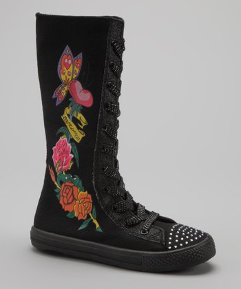 Black Rose Flower Extra Hi-Top Sneaker