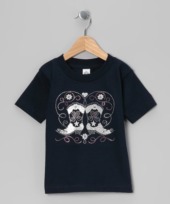 Navy Bling Boots Tee - Infant, Toddler & Girls