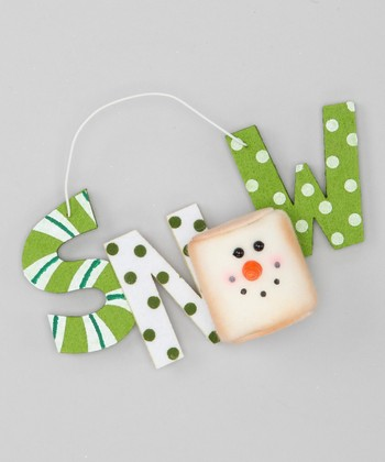 Green & White 'Snow' Marshmallow Ornament