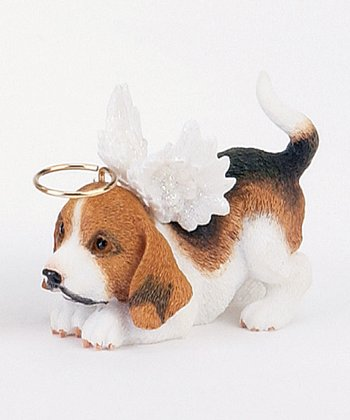 Brown & White Puppy Angel Ornament
