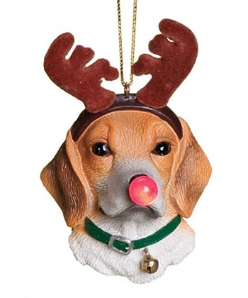 Brown & White Dog Light-Up Ornament