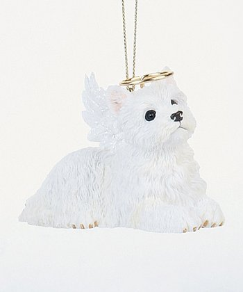White Terrier Puppy Angel Ornament