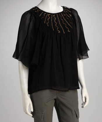 Romeo & Juliet Black Beaded Angel-Sleeve Top