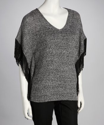 Charcoal Fringe V-Neck Top - Women