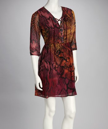 Burgundy & Rust Snakeskin Dress - Women