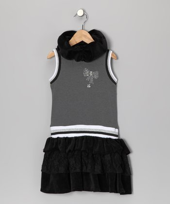 Romeo & Juliette Black Mix Bow Ruffle Dress - Toddler & Girls