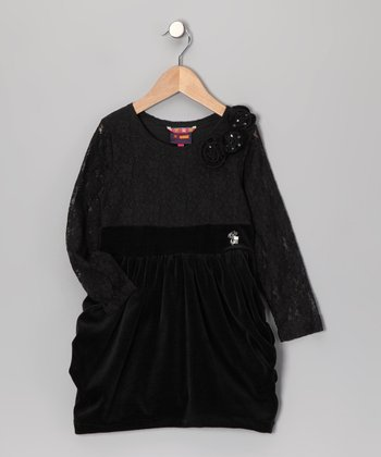 Black Lace & Velvet Dress - Toddler & Girls