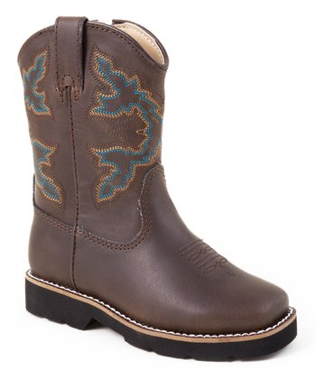 Brown & Turquoise Riderlite Cowboy Boot
