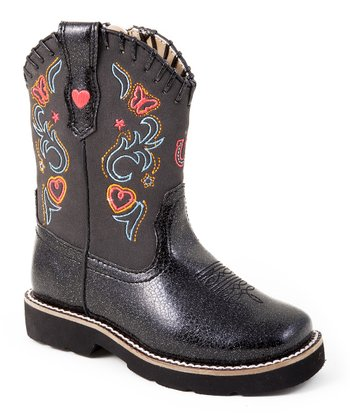 Black Embroidered Fancy Riderlite Cowboy Boot - Kids