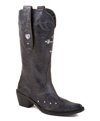 Black Cross Cowboy Boot - Women