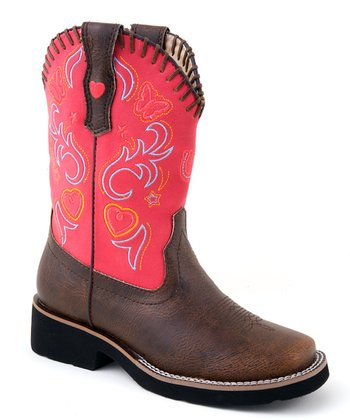 Brown & Pink Fancy Rider Cowboy Boot