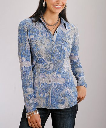 Roper Blue Abstract Button-Up Shirt - Women & Plus