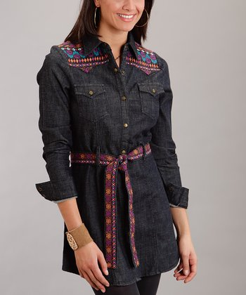 Blue Belted Button-Up - Women & Plus