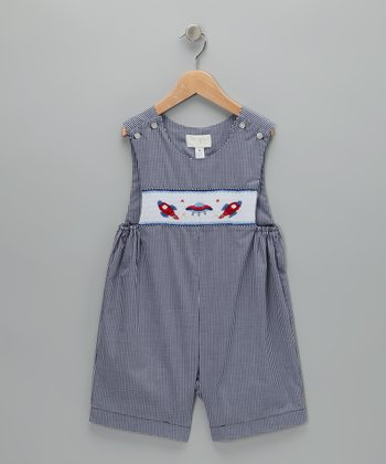 Navy Gingham Spaceship Personalized John Johns - Infant & Toddler