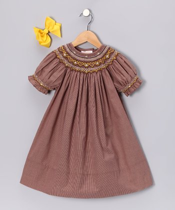 Brown Gingham Bishop Dress & Yellow Clip - Toddler & Girls
