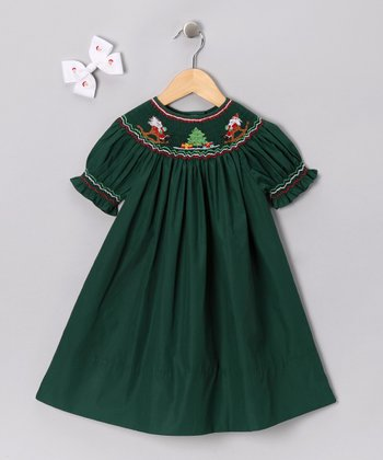 Green Rocking Chair Santa Bishop Dress & Bow - Girls