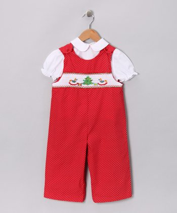 White Blouse & Red Overalls - Infant