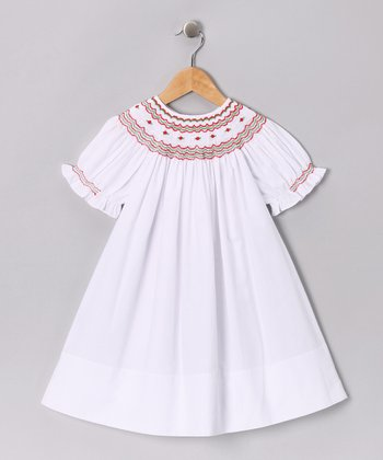 White & Red Rosebud Bishop Dress - Toddler