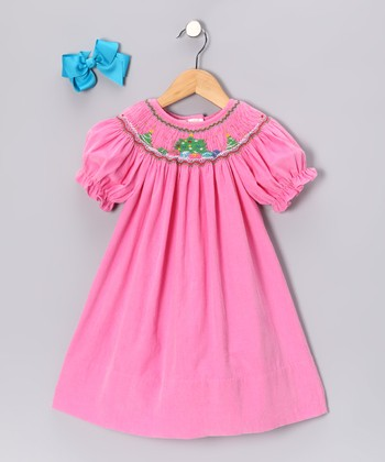 Pink Corduroy Bishop Dress & Bow Clip - Infant, Toddler & Girls
