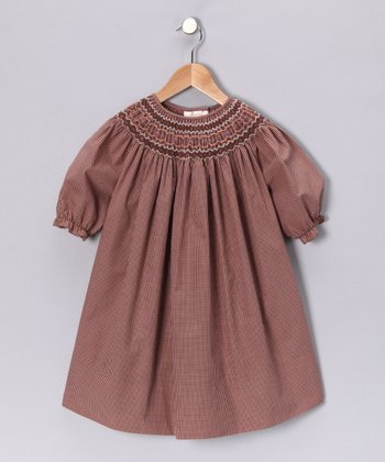 Brown Gingham Bishop Dress - Toddler & Girls