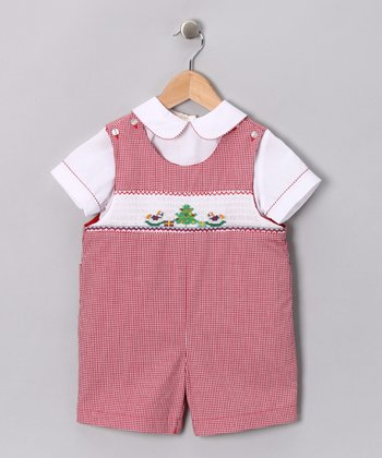 White Top & Red Rocking Horse Romper - Toddler