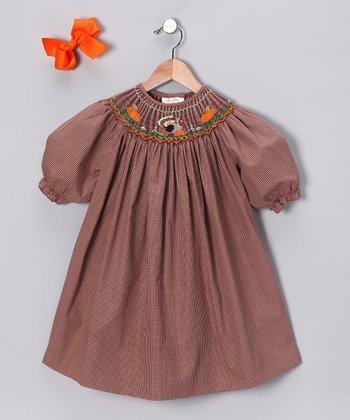 Brown Turkey Three-Quarter Sleeve Dress & Clip - Girls