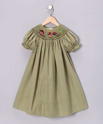 Green & Yellow Rooster Bishop Dress - Toddler & Girls