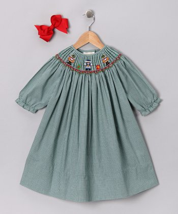 Green Nutcracker Bishop Dress & Bow Clip - Toddler & Girls