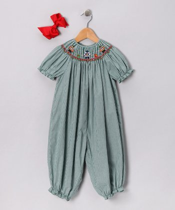 Green Nutcracker Bubble Playsuit & Bow Clip - Infant