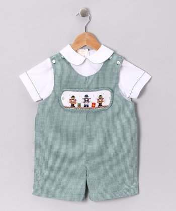 White Shirt & Green Nutcracker Romper - Infant & Toddler