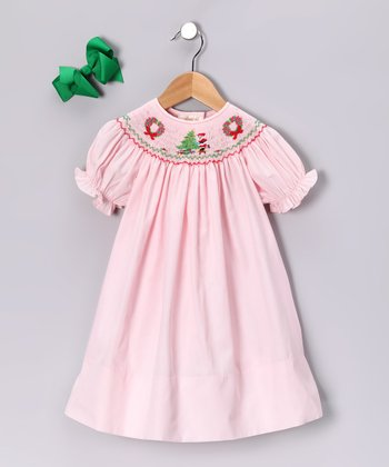 Pink Wreath Bishop Dress & Green Bow - Toddler