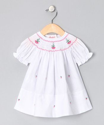 White Strawberry Bishop Dress - Infant
