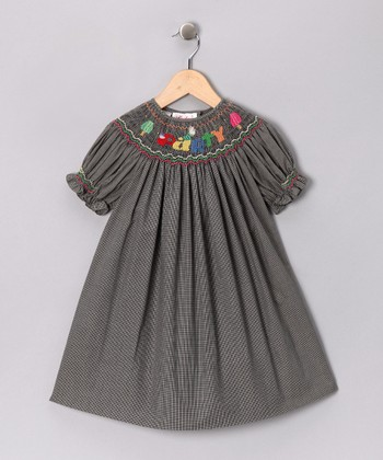 Black 'Party' Bishop Dress - Toddler