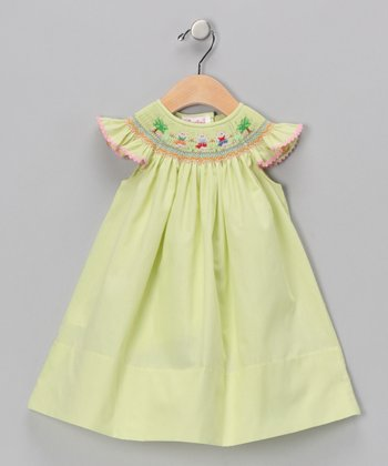 Green Lil' Pigs Angel-Sleeve Dress - Infant & Girls