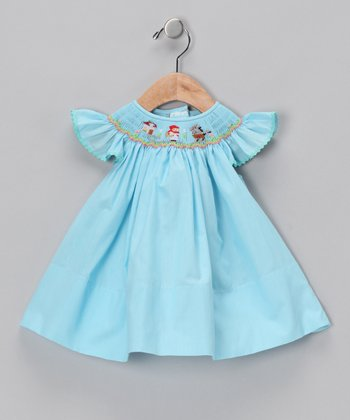 Blue Red Riding Hood Angel-Sleeve Dress - Infant & Girls