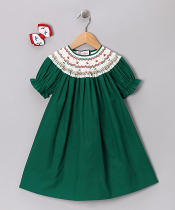 Green & White Bishop Dress & Bow Clip - Toddler