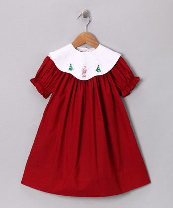 Red Bishop Dress & Santa Collar - Toddler & Girls