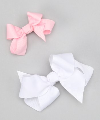 White & Pink Bow Clip Set