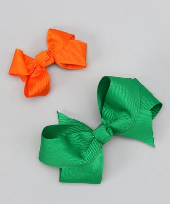 Green & Orange Bow Clip Set