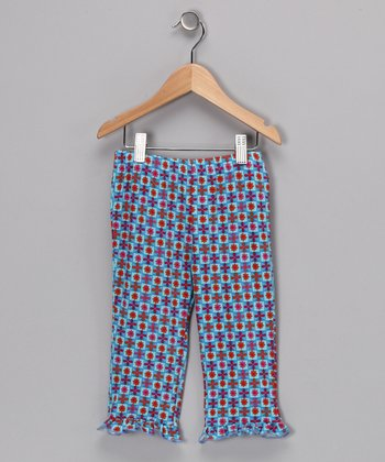 Light Blue & Red Cora Leggings