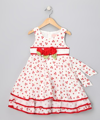 White & Red Flower Dress - Infant