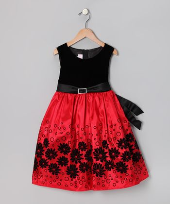 Red & Black Floating Floral Velvet Dress - Toddler