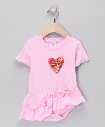 Babycakes Baby Tees LIght Pink Heart Skirted Bodysuit - Infant & Toddler
