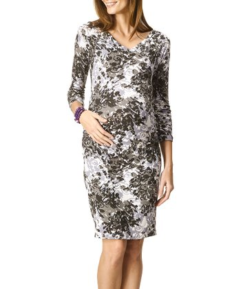 Smoke Maternity Three-Quarter Sleeve Dress