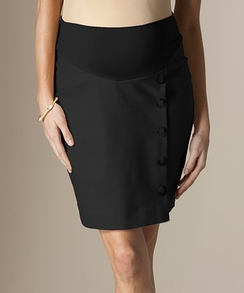 Black Button-Front Mid-Belly Wool-Blend Maternity Skirt