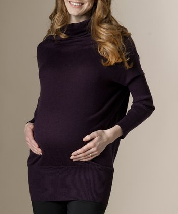 Aubergine Classic Maternity Cowl Neck Sweater