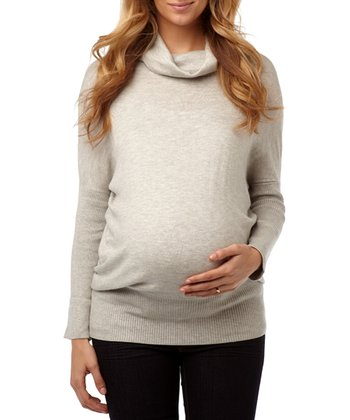 Light Heather Gray Classic Maternity Cowl Neck Sweater
