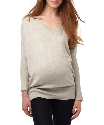 Light Heather Gray Classic Maternity V-Neck Sweater