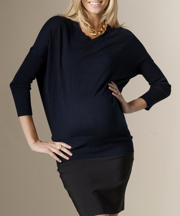 Navy Classic Maternity V-Neck Sweater