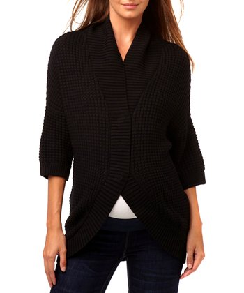 Black Thermal-Knit Wool-Blend Maternity Cardigan
